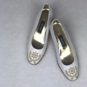 Bally Vintage White Gold Nautical Theme Wedge Shoe